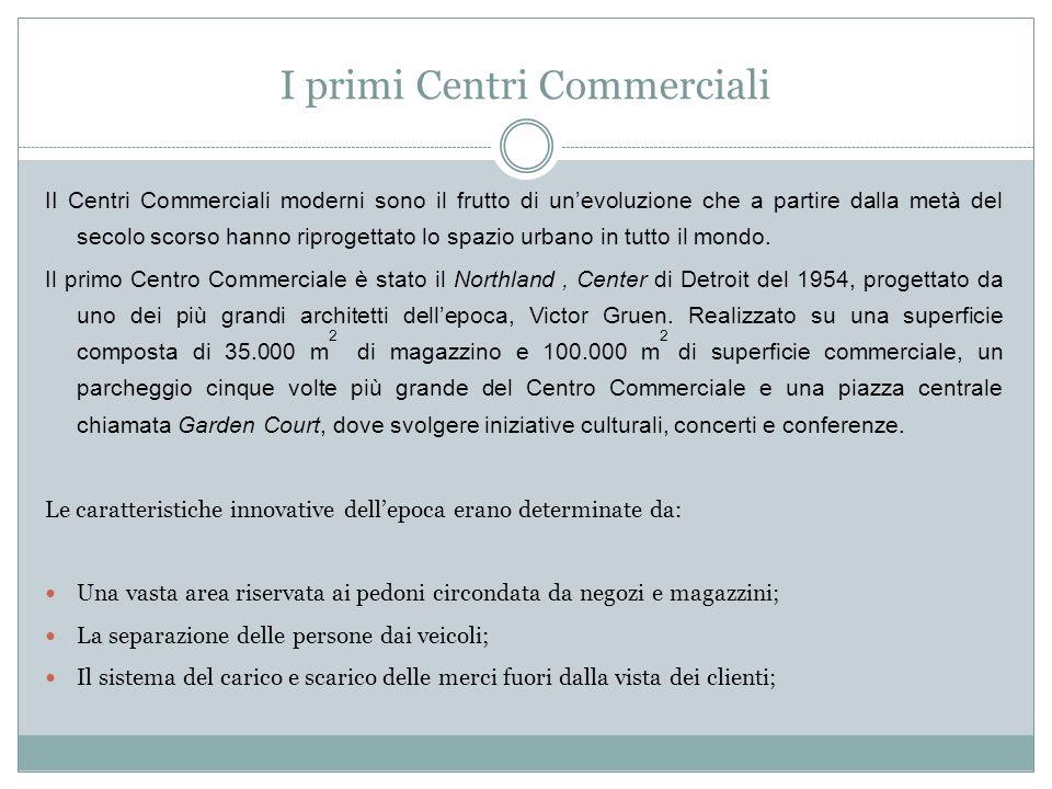 I primi Centri Commerciali II Centri Commerciali moderni sono il frutto di unevoluzione che a partire dalla metà del secolo scorso hanno riprogettato lo spazio urbano in tutto il mondo.