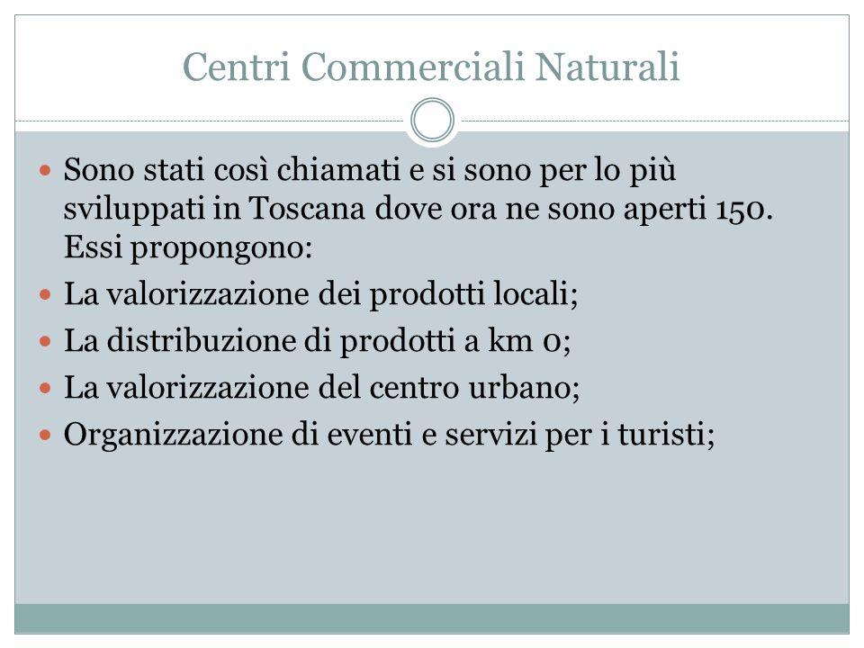 Centri Commerciali Naturali Sono stati così chiamati e si sono per lo più sviluppati in Toscana dove ora ne sono aperti 150.