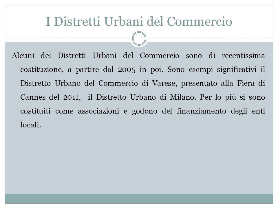 I Distretti Urbani del Commercio Alcuni dei Distretti Urbani del Commercio sono di recentissima costituzione, a partire dal 2005 in poi.