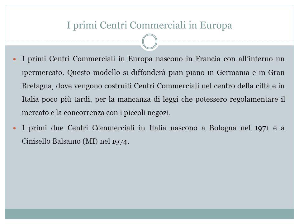 I primi Centri Commerciali in Europa I primi Centri Commerciali in Europa nascono in Francia con allinterno un ipermercato.