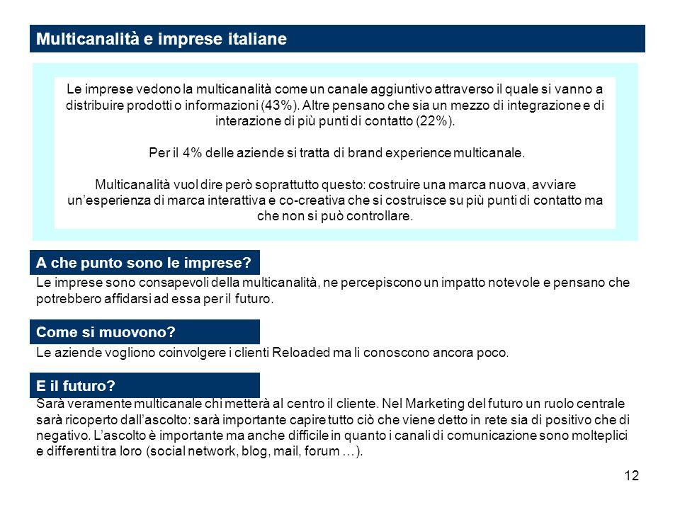 12 Multicanalità e imprese italiane Le imprese vedono la multicanalità come un canale aggiuntivo attraverso il quale si vanno a distribuire prodotti o