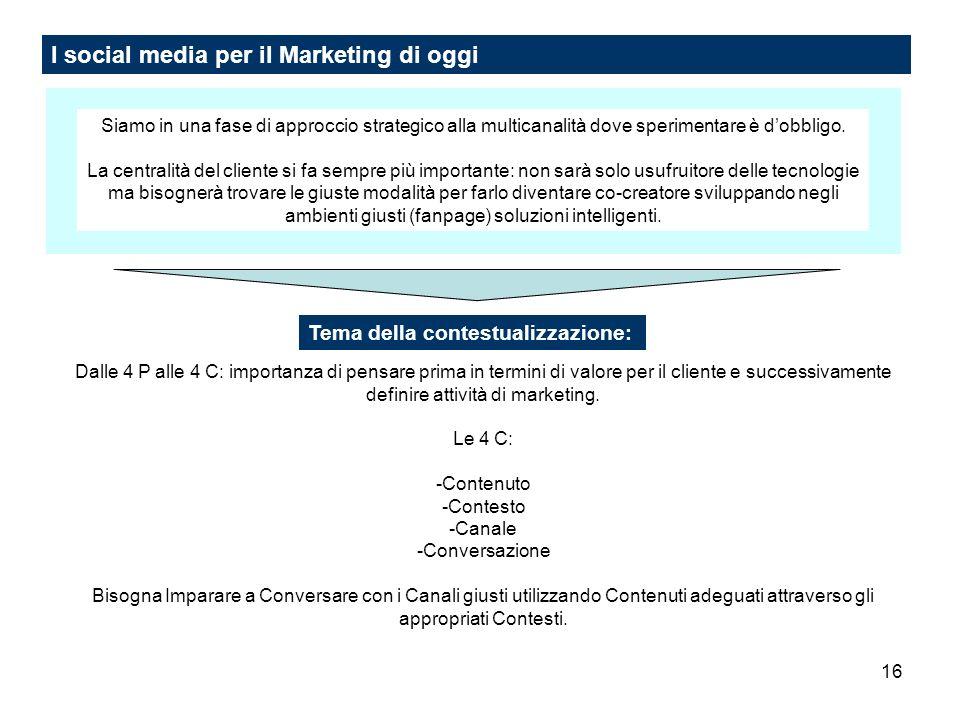 16 I social media per il Marketing di oggi Siamo in una fase di approccio strategico alla multicanalità dove sperimentare è dobbligo. La centralità de