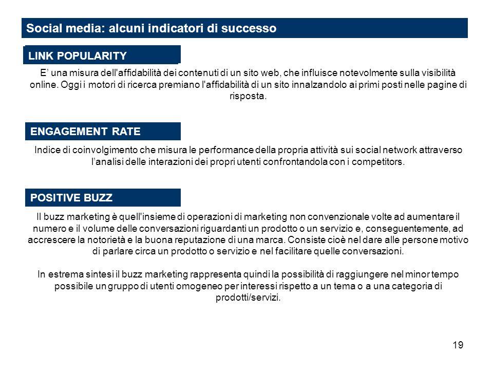 19 Social media: alcuni indicatori di successo E una misura dell'affidabilità dei contenuti di un sito web, che influisce notevolmente sulla visibilit