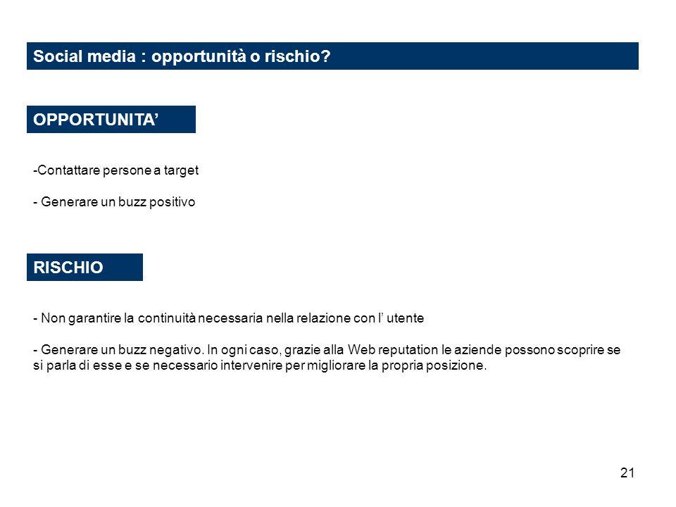 21 Social media : opportunità o rischio? RISCHIO OPPORTUNITA -Contattare persone a target - Generare un buzz positivo - Non garantire la continuità ne