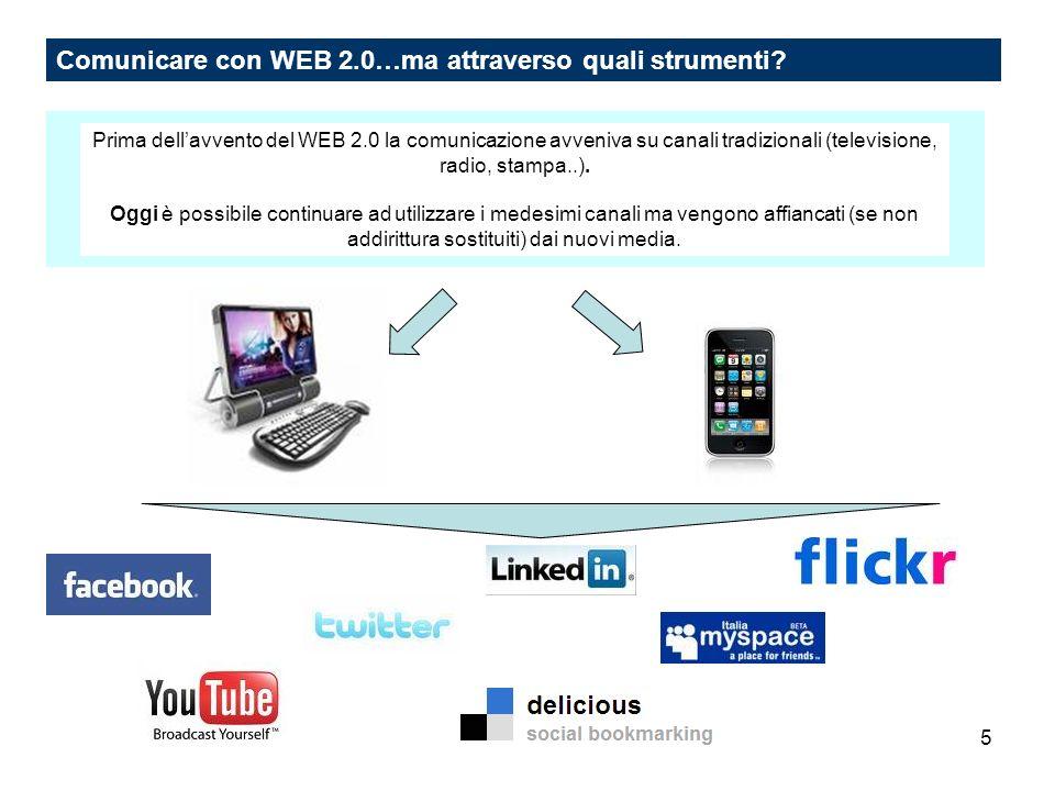 5 Comunicare con WEB 2.0…ma attraverso quali strumenti? Prima dellavvento del WEB 2.0 la comunicazione avveniva su canali tradizionali (televisione, r