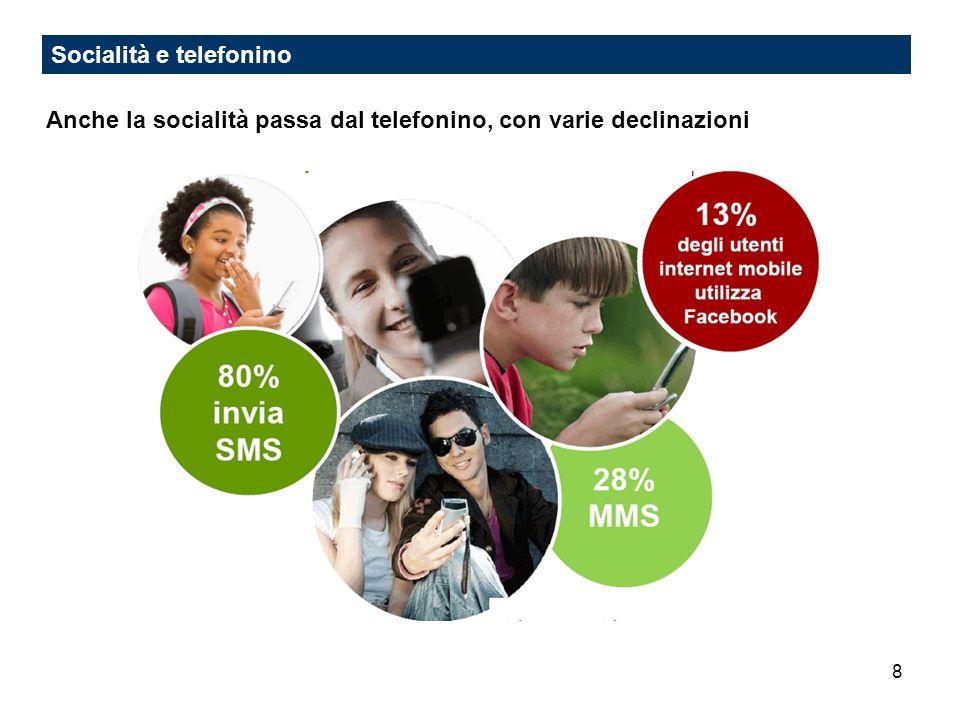 8 Socialità e telefonino Anche la socialità passa dal telefonino, con varie declinazioni