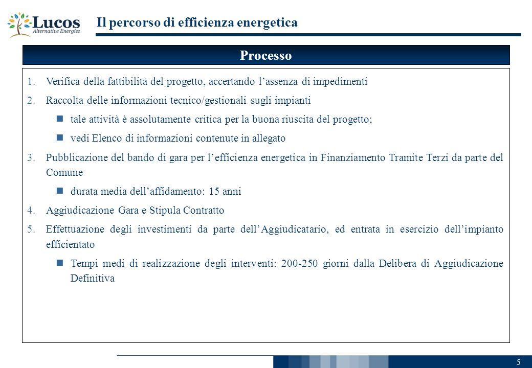 5 Il percorso di efficienza energetica 1.Verifica della fattibilità del progetto, accertando lassenza di impedimenti 2.Raccolta delle informazioni tec