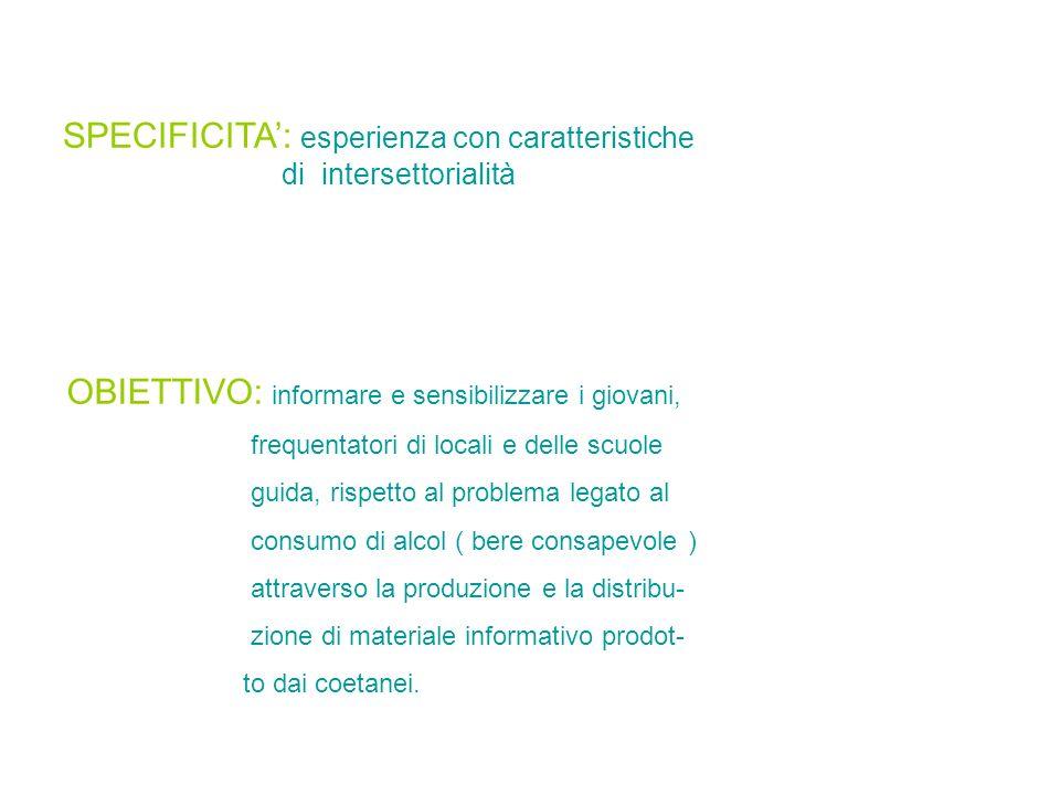 SPECIFICITA: esperienza con caratteristiche di intersettorialità OBIETTIVO: informare e sensibilizzare i giovani, frequentatori di locali e delle scuo