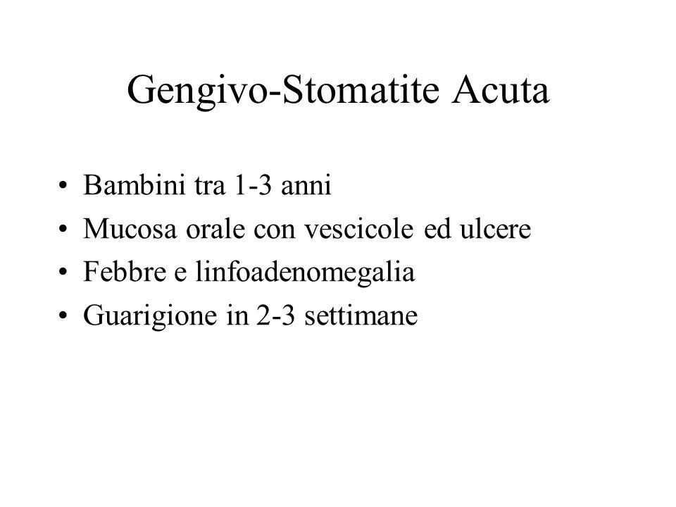 Gengivo-Stomatite Acuta Bambini tra 1-3 anni Mucosa orale con vescicole ed ulcere Febbre e linfoadenomegalia Guarigione in 2-3 settimane