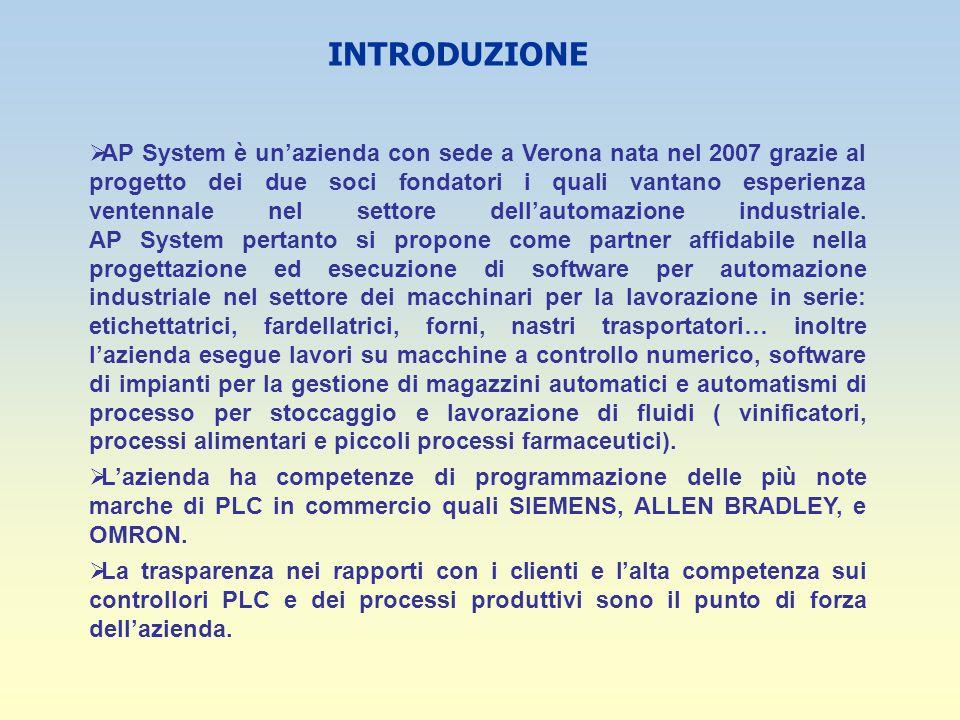 INTRODUZIONE AP System è unazienda con sede a Verona nata nel 2007 grazie al progetto dei due soci fondatori i quali vantano esperienza ventennale nel