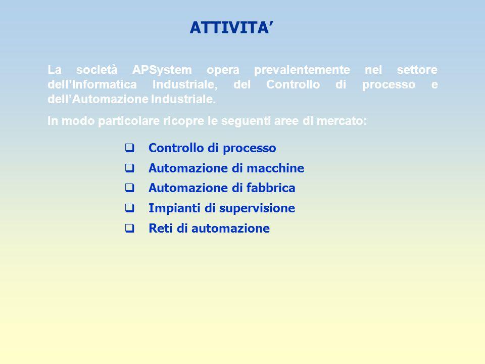 ATTIVITA La società APSystem opera prevalentemente nei settore dellInformatica Industriale, del Controllo di processo e dellAutomazione Industriale. I