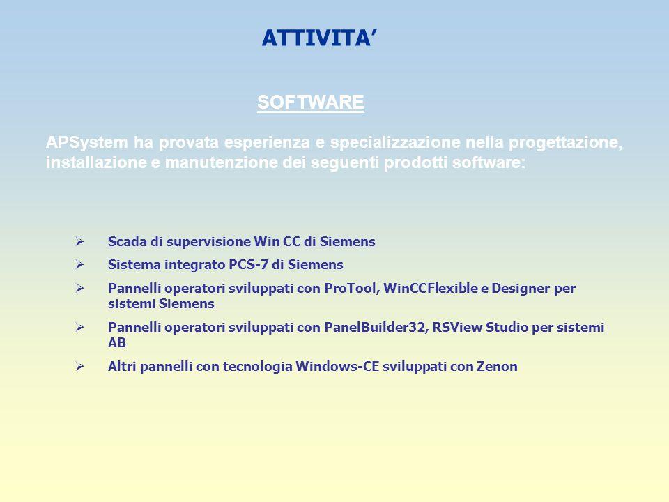 ATTIVITA SOFTWARE APSystem ha provata esperienza e specializzazione nella progettazione, installazione e manutenzione dei seguenti prodotti software: