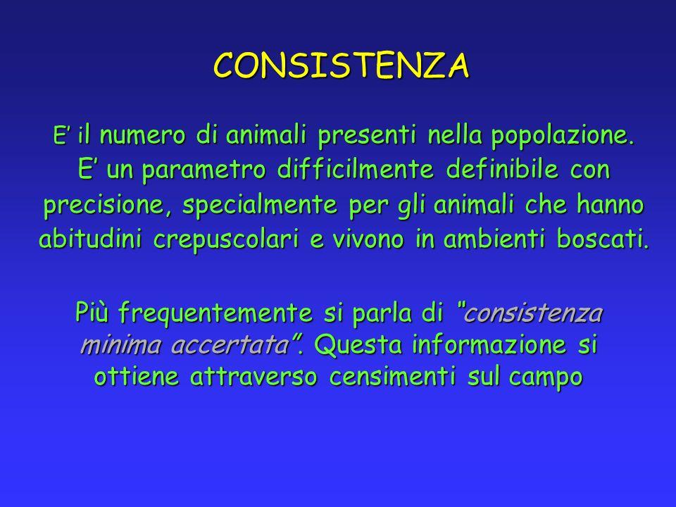 CONSISTENZA E i l numero di animali presenti nella popolazione. E un parametro difficilmente definibile con precisione, specialmente per gli animali c