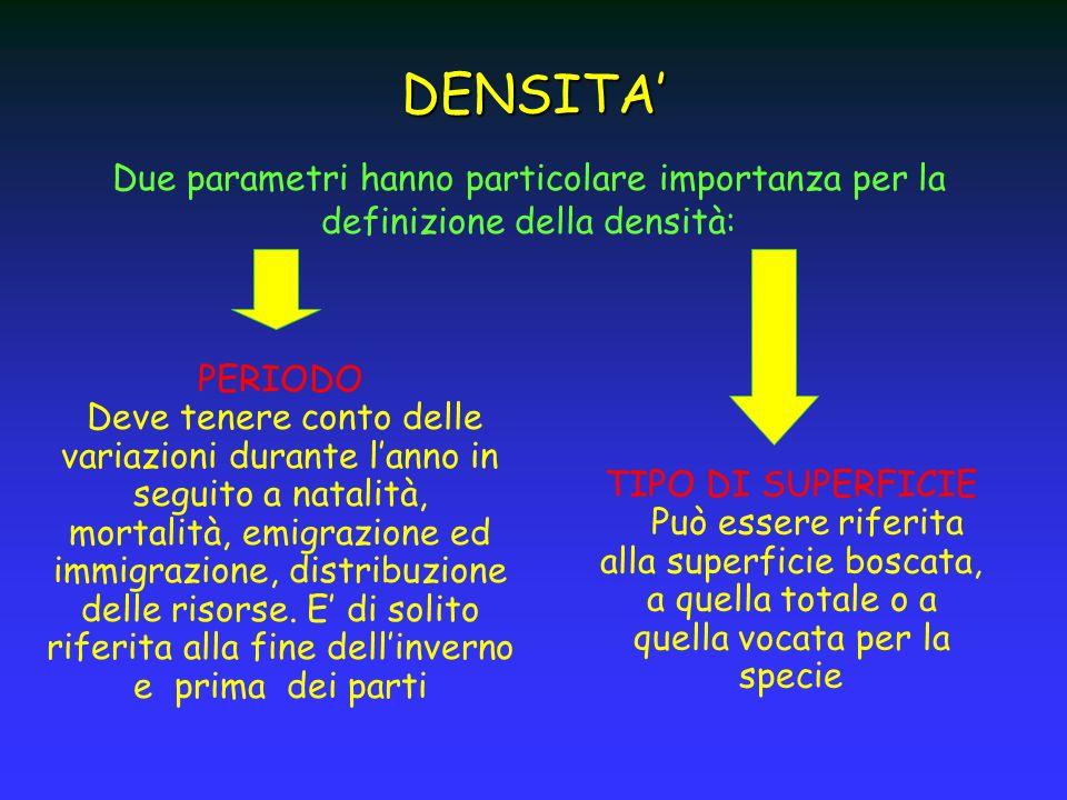 Due parametri hanno particolare importanza per la definizione della densità: DENSITA PERIODO Deve tenere conto delle variazioni durante lanno in segui