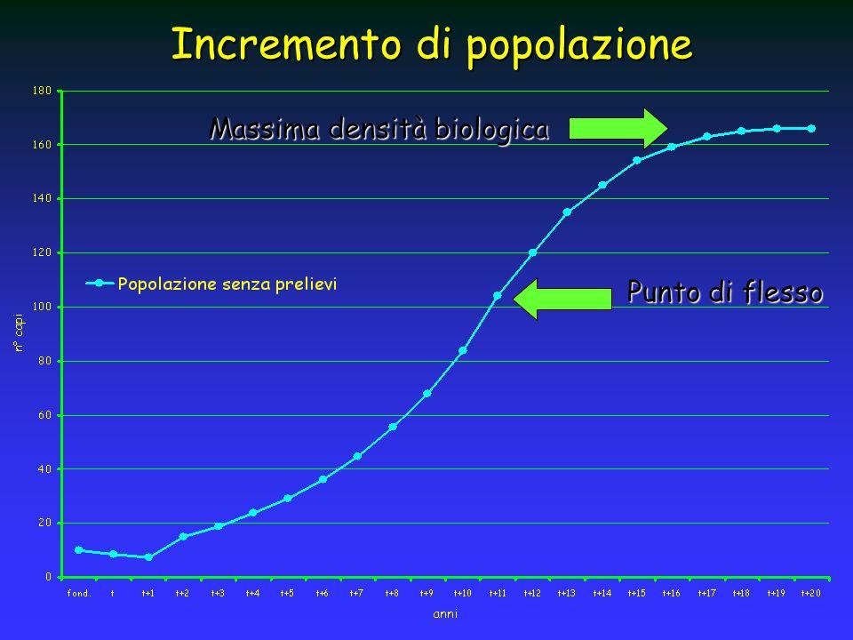 Incremento di popolazione Punto di flesso Massima densità biologica