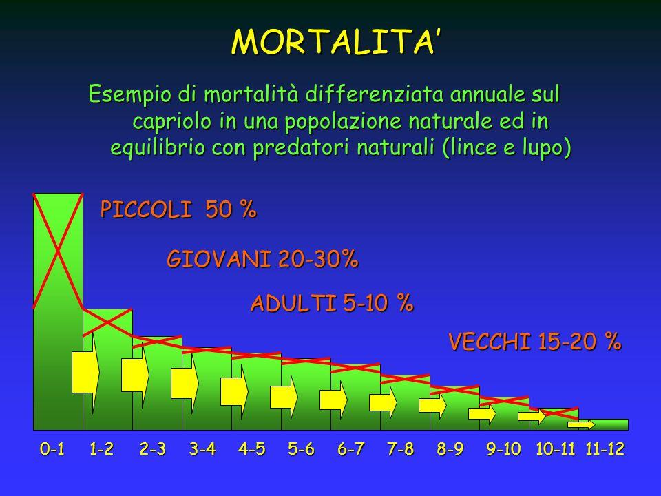 Esempio di mortalità differenziata annuale sul capriolo in una popolazione naturale ed in equilibrio con predatori naturali (lince e lupo) MORTALITA P