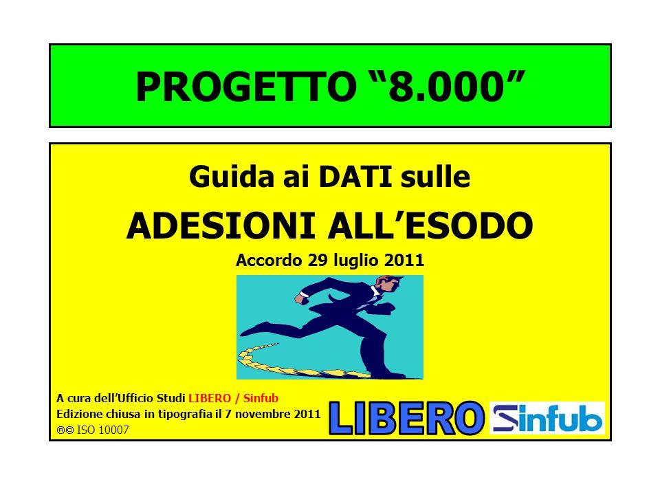 PROGETTO 8.000 Guida ai DATI sulle ADESIONI ALLESODO Accordo 29 luglio 2011 A cura dellUfficio Studi LIBERO / Sinfub Edizione chiusa in tipografia il 7 novembre 2011 ISO 10007
