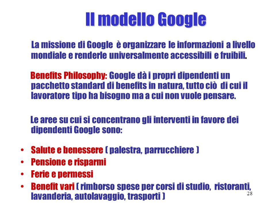 Il modello Google La missione di Google è organizzare le informazioni a livello mondiale e renderle universalmente accessibili e fruibili. Benefits Ph