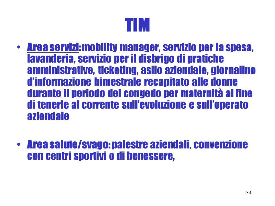 TIM Area servizi: mobility manager, servizio per la spesa, lavanderia, servizio per il disbrigo di pratiche amministrative, ticketing, asilo aziendale