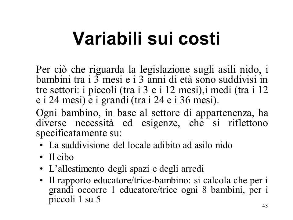 Variabili sui costi Per ciò che riguarda la legislazione sugli asili nido, i bambini tra i 3 mesi e i 3 anni di età sono suddivisi in tre settori: i p