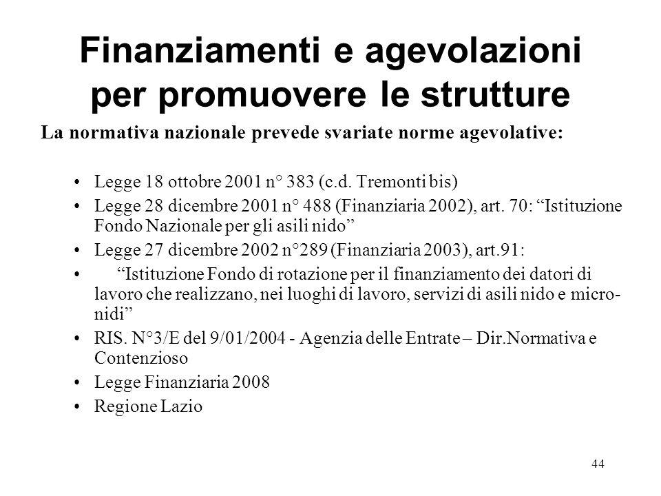 Finanziamenti e agevolazioni per promuovere le strutture La normativa nazionale prevede svariate norme agevolative: Legge 18 ottobre 2001 n° 383 (c.d.