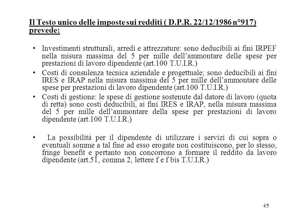 Il Testo unico delle imposte sui redditi ( D.P.R. 22/12/1986 n°917) prevede: Investimenti strutturali, arredi e attrezzature: sono deducibili ai fini