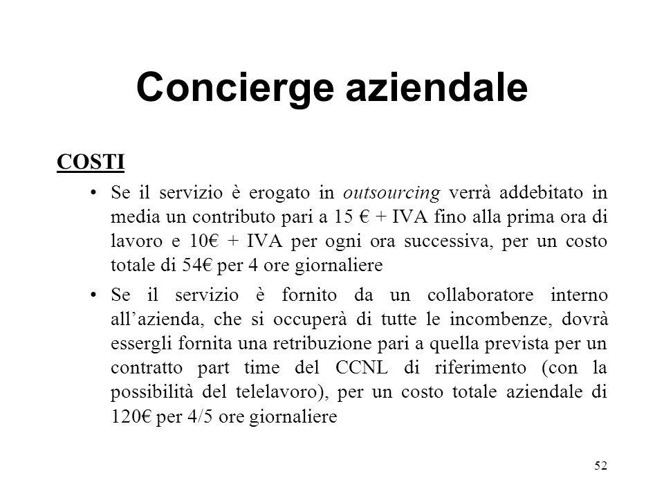 Concierge aziendale COSTI Se il servizio è erogato in outsourcing verrà addebitato in media un contributo pari a 15 + IVA fino alla prima ora di lavor