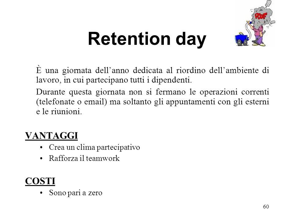 Retention day È una giornata dellanno dedicata al riordino dellambiente di lavoro, in cui partecipano tutti i dipendenti. Durante questa giornata non