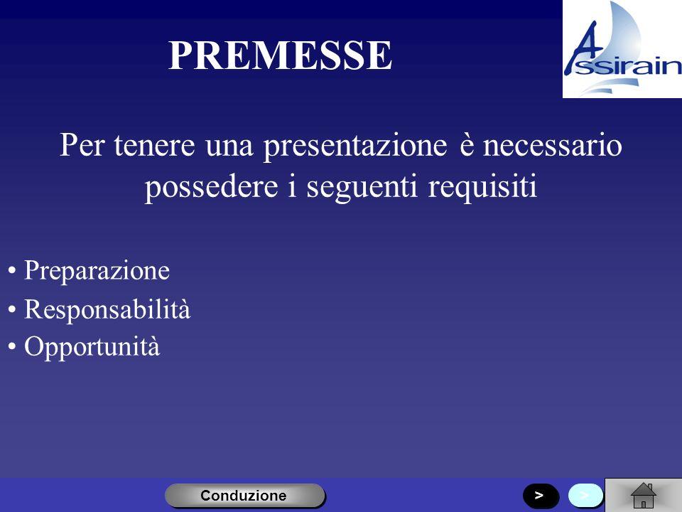 Conduzione Premesse Apertura Costanti Chiusura > >