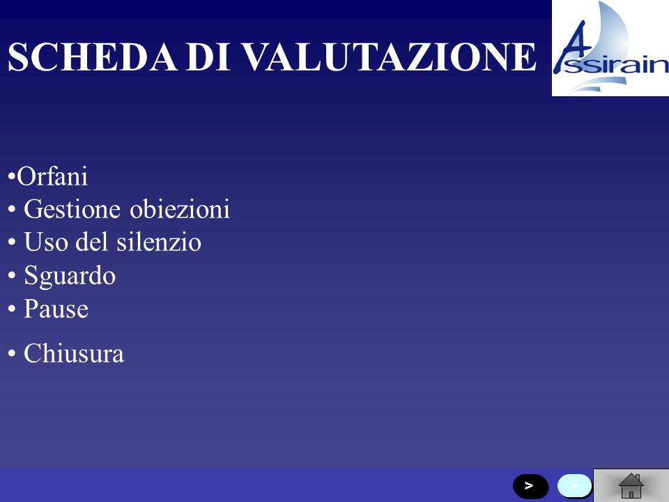 SCHEDA DI VALUTAZIONE Relatore Immagine Presentazione personale Presentazione argomenti Domande per coinvolgere Canali di comunicazione > > > >