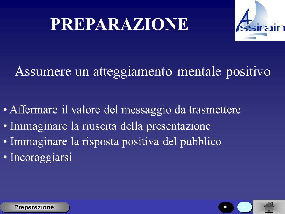 PIANIFICAZIONE Descrivere le caratteristiche del pubblico a cui è rivolta la presentazione Preparazione Esperienza Esigenze Obiettivi < < Preparazione