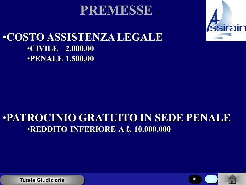 PREMESSE - COSTO ASSISTENZA LEGALECOSTO ASSISTENZA LEGALE CIVILE 2.000,00CIVILE 2.000,00 PENALE 1.500,00PENALE 1.500,00 PATROCINIO GRATUITO IN SEDE PENALEPATROCINIO GRATUITO IN SEDE PENALE REDDITO INFERIORE A £.