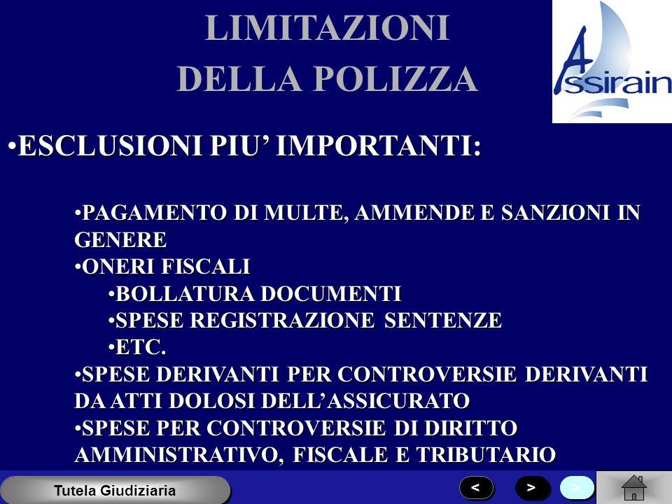 LIMITAZIONI DELLA POLIZZA PRESTARE ATTENZIONE ALLE ESCLUSIONE PER CONTROVERSIE DI DIRITTO:PRESTARE ATTENZIONE ALLE ESCLUSIONE PER CONTROVERSIE DI DIRI