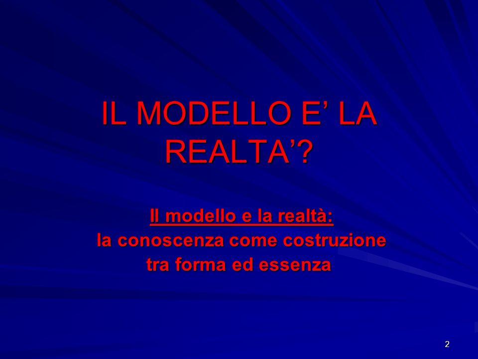 2 IL MODELLO E LA REALTA? Il modello e la realtà: Il modello e la realtà: la conoscenza come costruzione la conoscenza come costruzione tra forma ed e