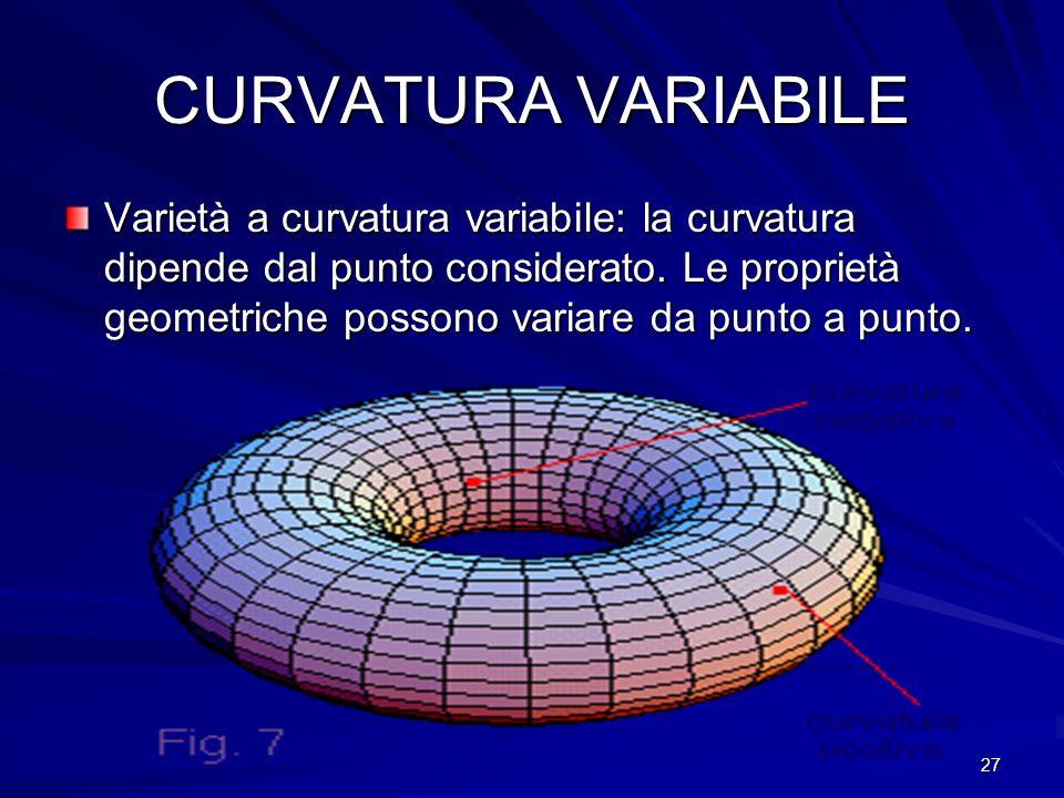 27 CURVATURA VARIABILE Varietà a curvatura variabile: la curvatura dipende dal punto considerato. Le proprietà geometriche possono variare da punto a
