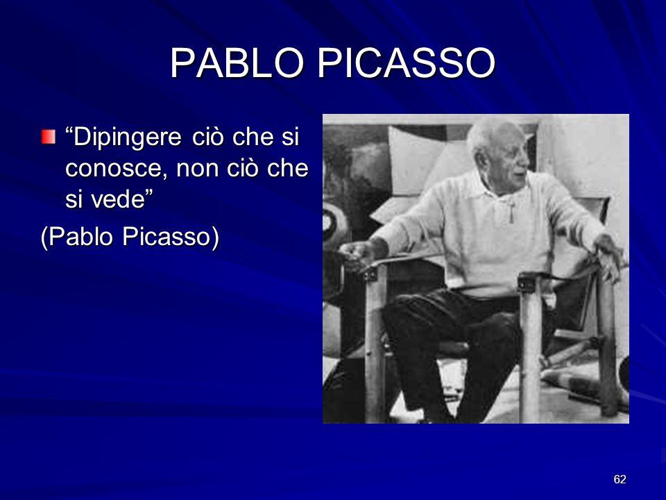 62 PABLO PICASSO Dipingere ciò che si conosce, non ciò che si vede (Pablo Picasso)