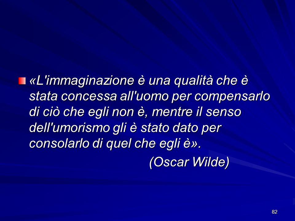82 «L'immaginazione è una qualità che è stata concessa all'uomo per compensarlo di ciò che egli non è, mentre il senso dell'umorismo gli è stato dato