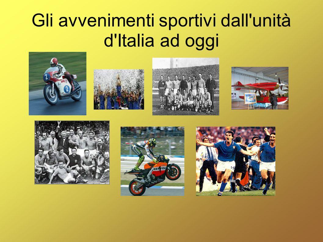Gli avvenimenti sportivi dall'unità d'Italia ad oggi