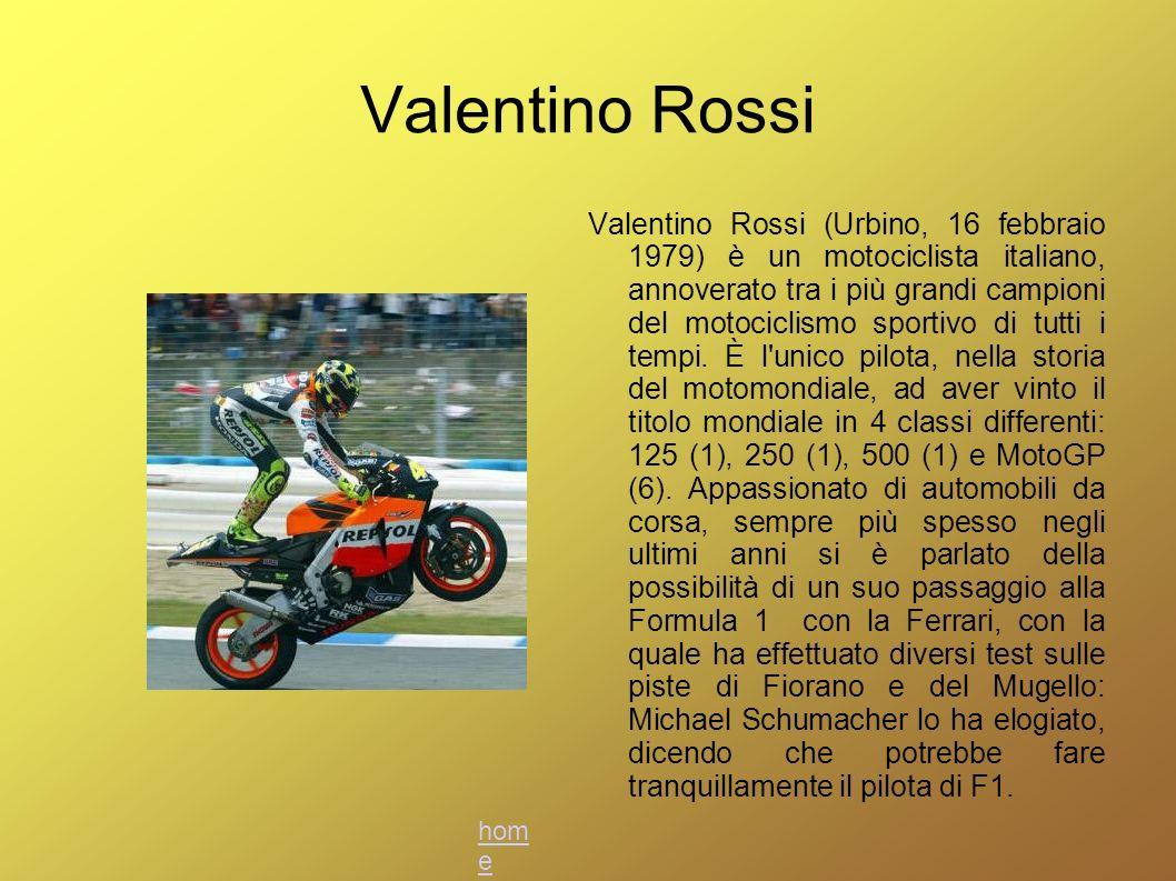 Valentino Rossi Valentino Rossi (Urbino, 16 febbraio 1979) è un motociclista italiano, annoverato tra i più grandi campioni del motociclismo sportivo