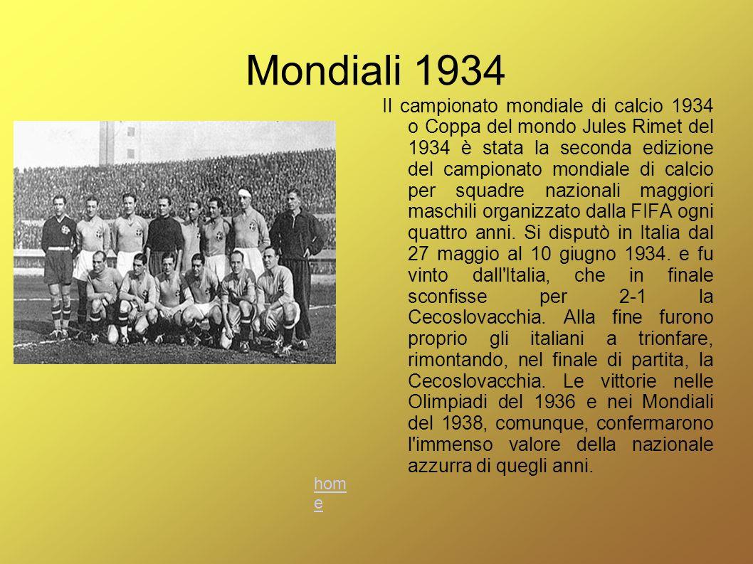 Mondiali 1938 Il campionato mondiale di calcio 1938 o Coppa del mondo Jules Rimet del 1938 è stata la terza edizione del campionato mondiale di calcio per squadre nazionali maggiori maschili organizzato dalla FIFA ogni quattro anni.