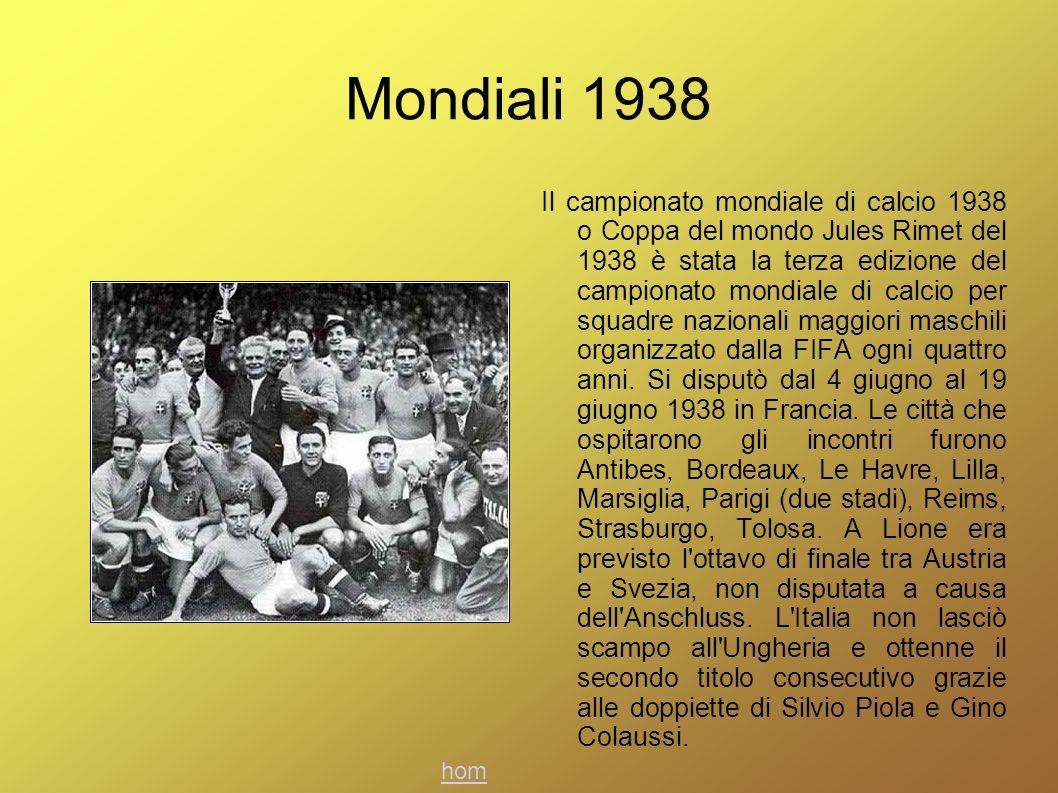 Mondiali 1938 Il campionato mondiale di calcio 1938 o Coppa del mondo Jules Rimet del 1938 è stata la terza edizione del campionato mondiale di calcio