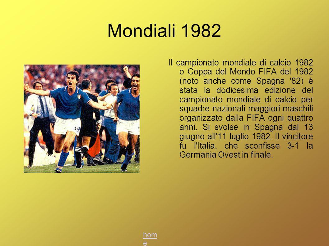 Mondiali 1982 Il campionato mondiale di calcio 1982 o Coppa del Mondo FIFA del 1982 (noto anche come Spagna '82) è stata la dodicesima edizione del ca