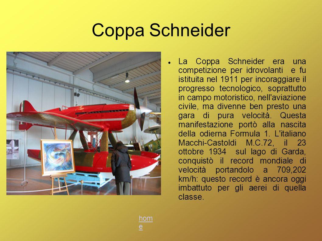 Coppa Schneider La Coppa Schneider era una competizione per idrovolanti e fu istituita nel 1911 per incoraggiare il progresso tecnologico, soprattutto
