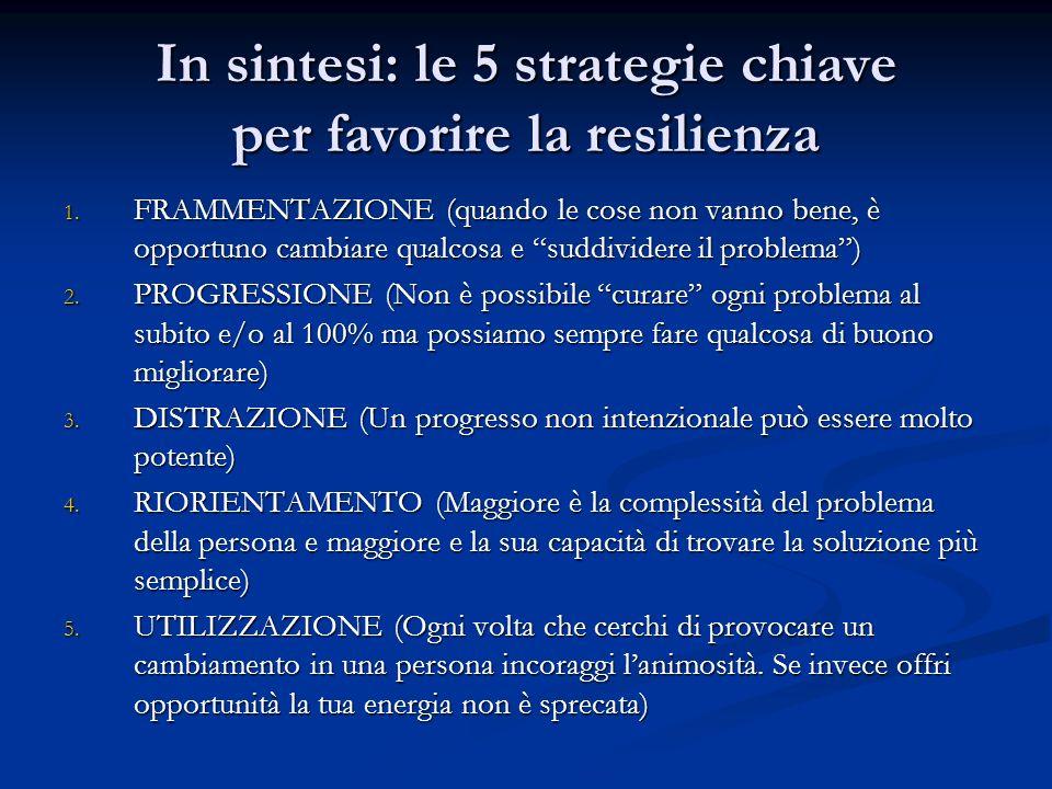 In sintesi: le 5 strategie chiave per favorire la resilienza 1. FRAMMENTAZIONE (quando le cose non vanno bene, è opportuno cambiare qualcosa e suddivi