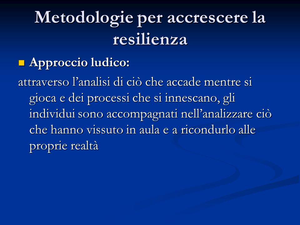 Metodologie per accrescere la resilienza Approccio ludico: Approccio ludico: attraverso lanalisi di ciò che accade mentre si gioca e dei processi che