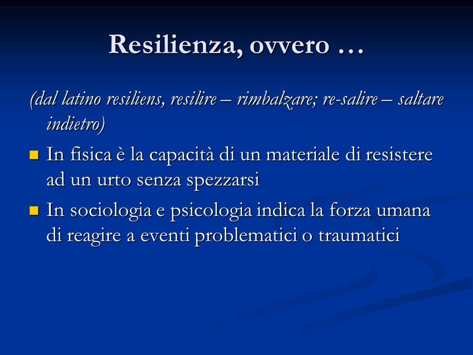 Resilienza, ovvero … ….