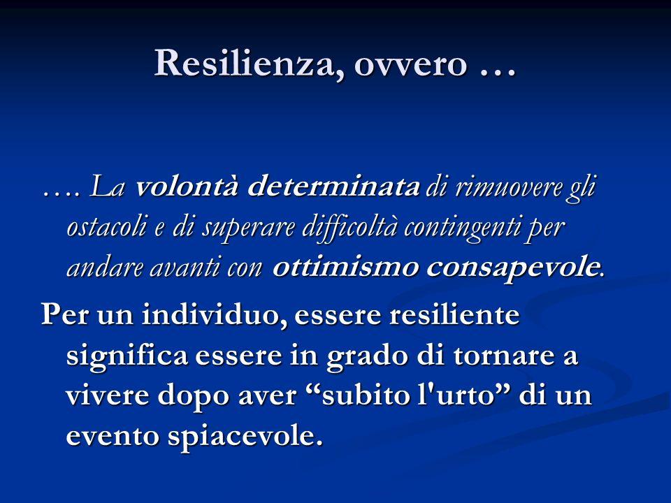Resilienza, ovvero … …. La volontà determinata di rimuovere gli ostacoli e di superare difficoltà contingenti per andare avanti con ottimismo consapev