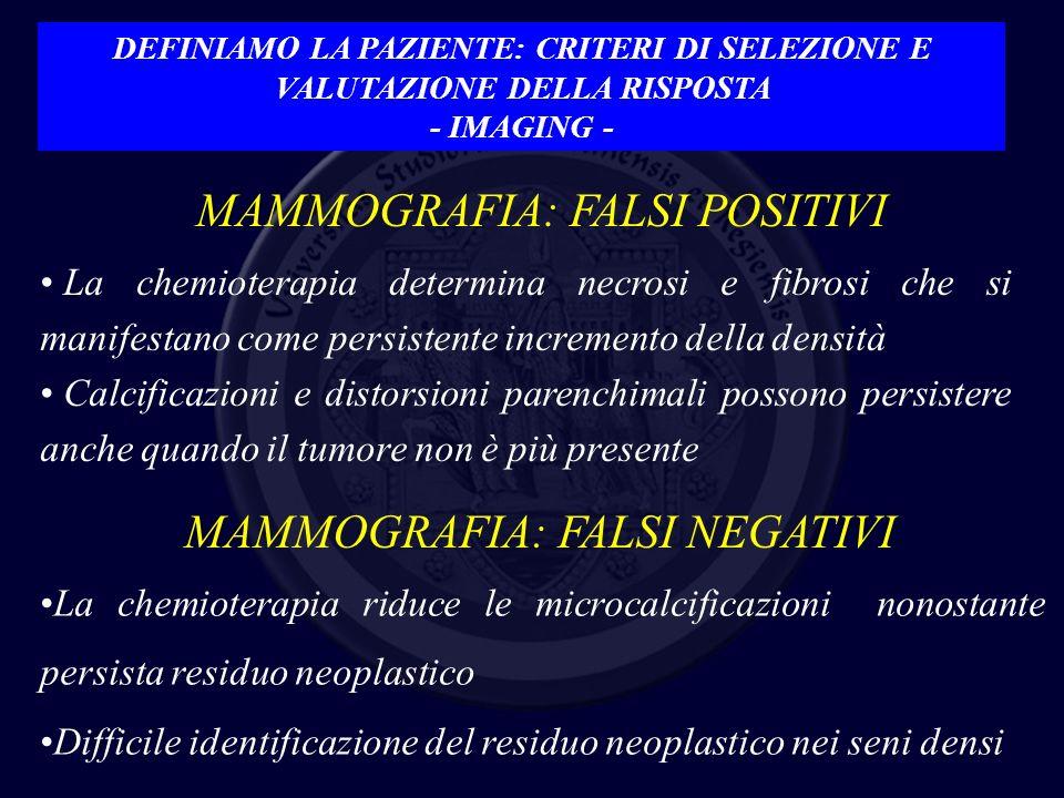 MAMMOGRAFIA: FALSI POSITIVI La chemioterapia determina necrosi e fibrosi che si manifestano come persistente incremento della densità Calcificazioni e