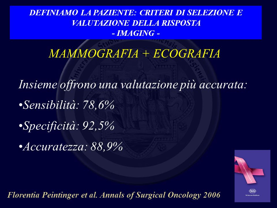 MAMMOGRAFIA + ECOGRAFIA Insieme offrono una valutazione più accurata: Sensibilità: 78,6% Specificità: 92,5% Accuratezza: 88,9% Florentia Peintinger et