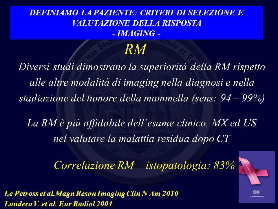 RM Correlazione RM – istopatologia: 83% Le Petross et al.Magn Reson Imaging Clin N Am 2010 Londero V. et al. Eur Radiol 2004 La RM è più affidabile de